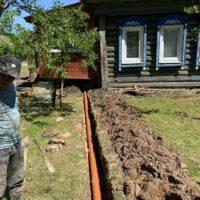 траншея для канализации от дома к септику
